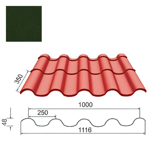 Plieninė čerpė Tegula 0,5mm Prelaq Nova 50mk t.žalia, m²