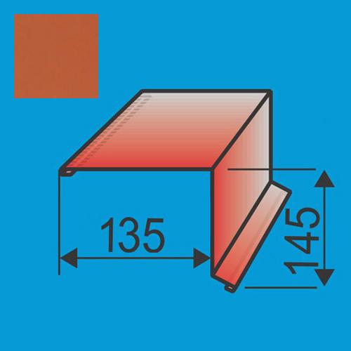 Vėjalentė 135x145 L=2000 Raudona Molio poliesteris 0,5mm, vnt