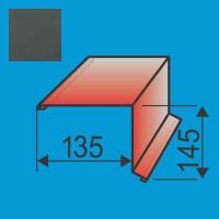 Vėjalentė 135x145 L=2000 Grafito Pilka poliesteris DP 0,5mm, vnt