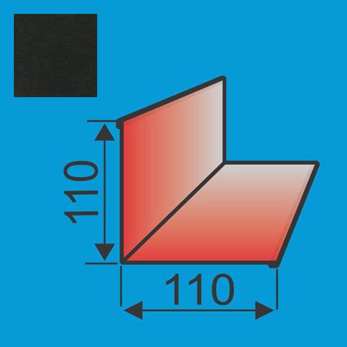 Vidinis kampas 110x110 L=2000 Juoda poliesteris 0,5mm, vnt