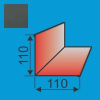 Vidinis kampas 110x110 L=2000 Grafito Pilka poliesteris DP 0,5mm, vnt