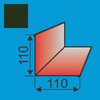Vidinis kampas 110x110 L=2000 Tamsiai Žalia poliesteris 0,5mm, vnt